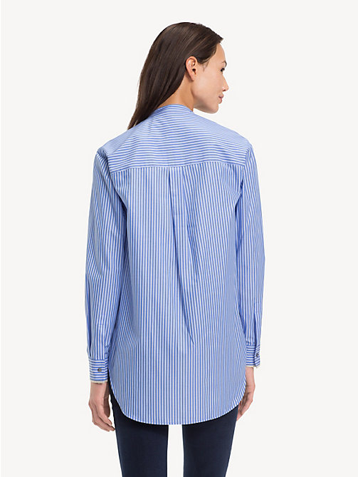 TOMMY HILFIGER Pure Cotton Girlfriend Shirt - BLUE / CLASSIC WHITE DOUBLE STRIPE - TOMMY HILFIGER NEW IN - detail image 1