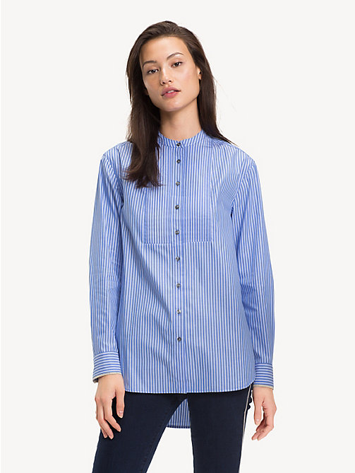 TOMMY HILFIGER Pure Cotton Girlfriend Shirt - BLUE / CLASSIC WHITE DOUBLE STRIPE - TOMMY HILFIGER NEW IN - main image