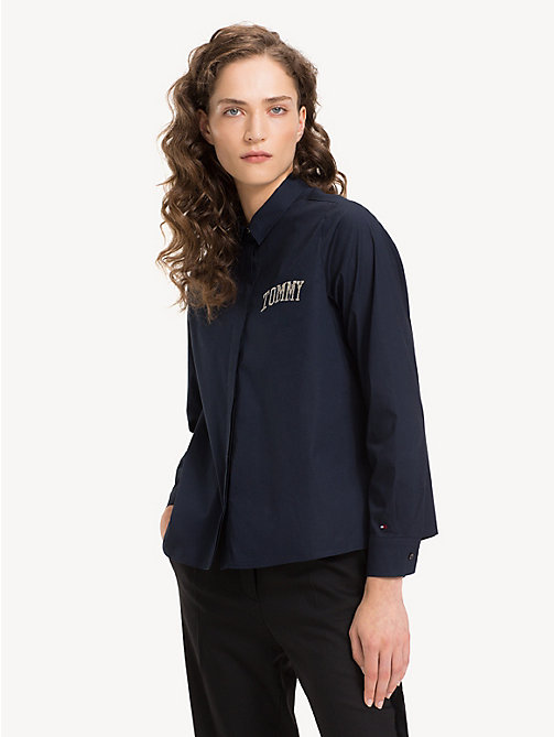 TOMMY HILFIGER Stretch A-Line Shirt - MIDNIGHT - TOMMY HILFIGER Sustainable Evolution - main image