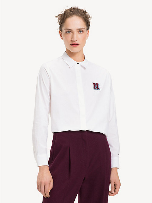 TOMMY HILFIGER Stretch A-Line Shirt - CLASSIC WHITE H BADGE - TOMMY HILFIGER Sustainable Evolution - main image