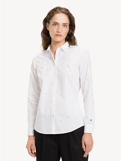 TOMMY HILFIGER All-Over Micro Square Print Shirt - MINI FOIL SQUARE / CLASSIC WHITE - TOMMY HILFIGER NEW IN - main image