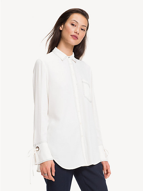 TOMMY HILFIGER Ribbon Cuff Viscose Shirt - SNOW WHITE - TOMMY HILFIGER Shirts - main image