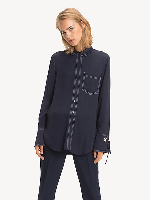 TOMMY HILFIGER Ribbon Cuff Viscose Shirt - MIDNIGHT - TOMMY HILFIGER Shirts - main image