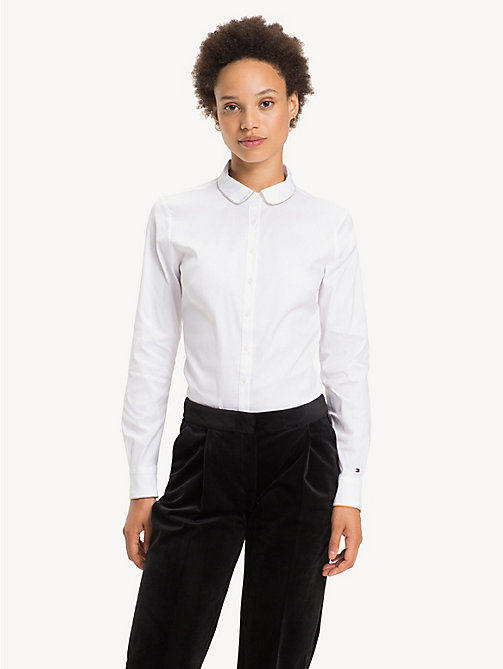 TOMMY HILFIGER Chain Detail Slim Fit Shirt - CLASSIC WHITE - TOMMY HILFIGER Shirts - main image