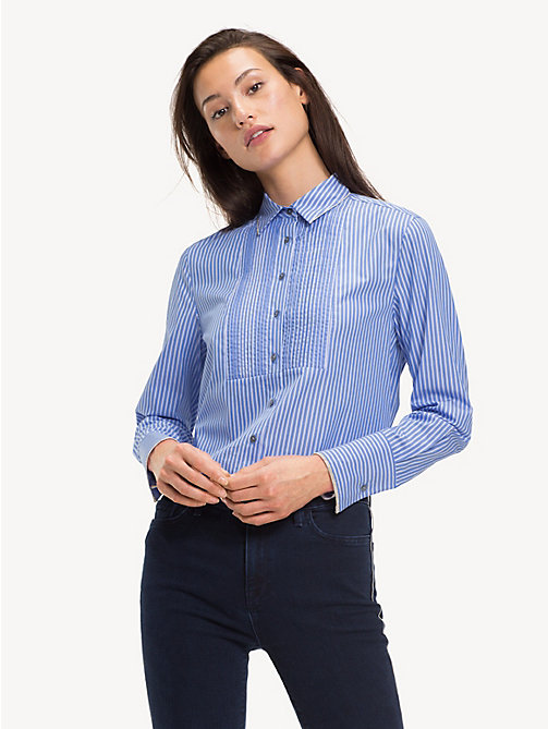 TOMMY HILFIGER Chain Detail Cotton Shirt - BLUE / CLASSIC WHITE DOUBLE STRIPE - TOMMY HILFIGER Shirts - main image