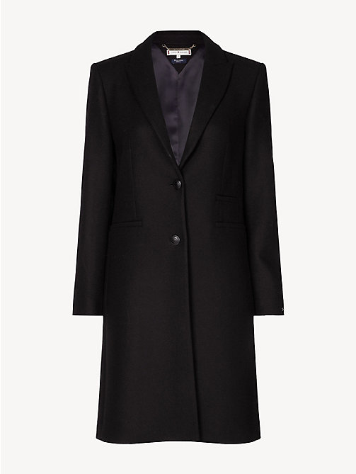 TOMMY HILFIGER Slim Fit Wool Blend Tailored Coat - BLACK BEAUTY - TOMMY HILFIGER Party Looks - detail image 1