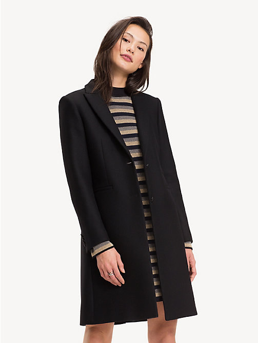 TOMMY HILFIGER Slim Fit Wool Blend Tailored Coat - BLACK BEAUTY - TOMMY HILFIGER Party Looks - main image
