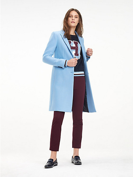 TOMMY HILFIGER Slim Fit Wool Blend Tailored Coat - DUSK BLUE - TOMMY HILFIGER Coats - main image