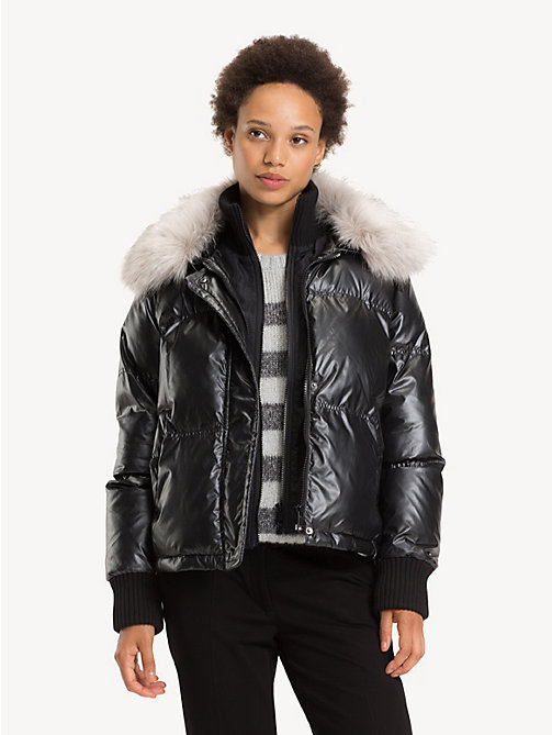 TOMMY HILFIGER Metallic Puffer Bomber Jacket - BLACK BEAUTY - TOMMY HILFIGER Bomber Jackets - main image