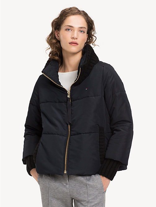 TOMMY HILFIGER Knit Detail Puffer Jacket - BLACK BEAUTY - TOMMY HILFIGER Jackets - main image