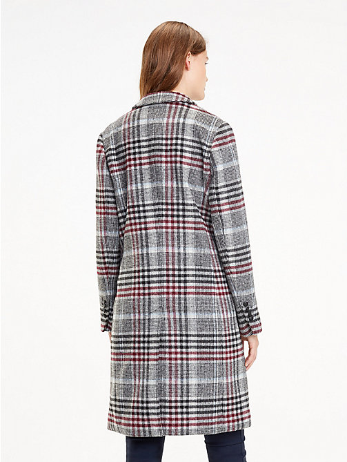 TOMMY HILFIGER Single-Breasted Check Coat - OUTERWEAR CHK / MEDIUM GREY HTR - TOMMY HILFIGER Coats - detail image 1