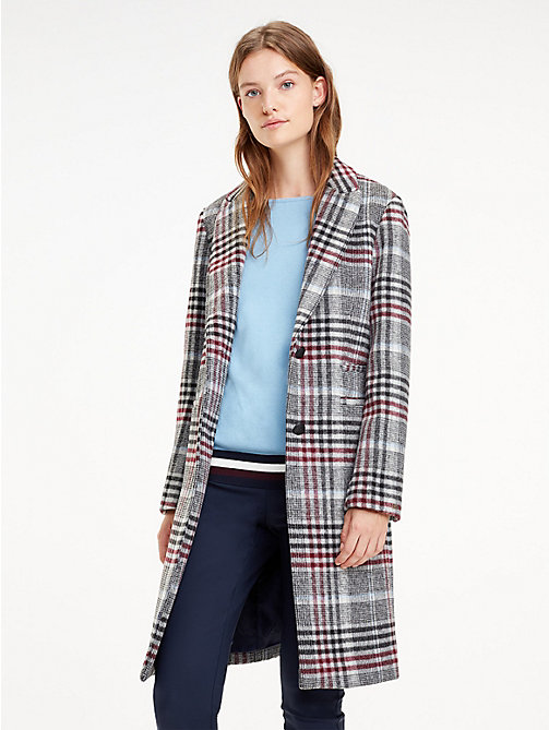 TOMMY HILFIGER Single-Breasted Check Coat - OUTERWEAR CHK / MEDIUM GREY HTR - TOMMY HILFIGER Coats - main image