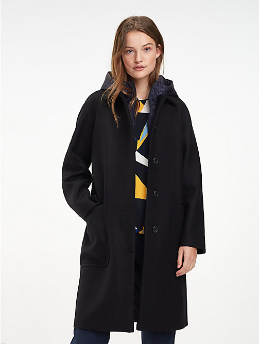 TOMMY HILFIGER Wool Blend Hooded Parka - BLACK BEAUTY - TOMMY HILFIGER Parka Coats - main image
