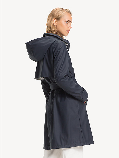 TOMMY HILFIGER Hooded Rubber Trench Coat - MIDNIGHT - TOMMY HILFIGER NEW IN - detail image 1
