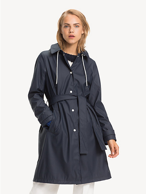 TOMMY HILFIGER Hooded Rubber Trench Coat - MIDNIGHT - TOMMY HILFIGER NEW IN - main image