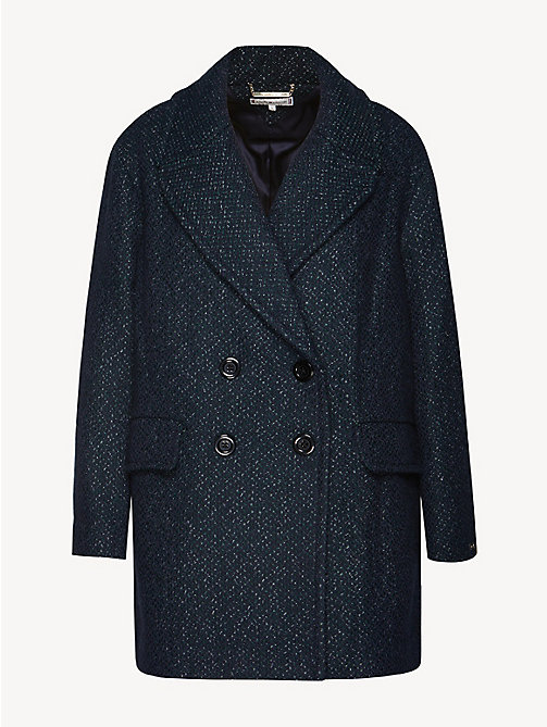 TOMMY HILFIGER Wool Blend Coat - MIDNIGHT MULTI - TOMMY HILFIGER Coats - detail image 1