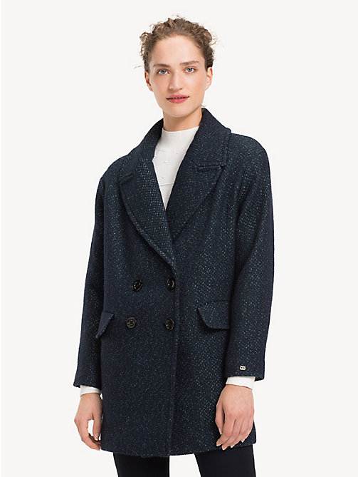 TOMMY HILFIGER Wool Blend Coat - MIDNIGHT MULTI - TOMMY HILFIGER Coats - main image