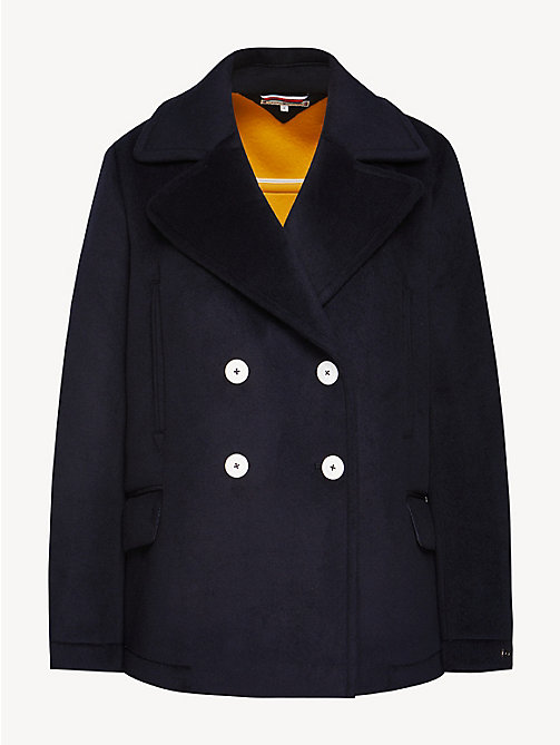 TOMMY HILFIGER Regular Fit Wool Blend Pea Coat - MIDNIGHT - TOMMY HILFIGER NEW IN - detail image 1