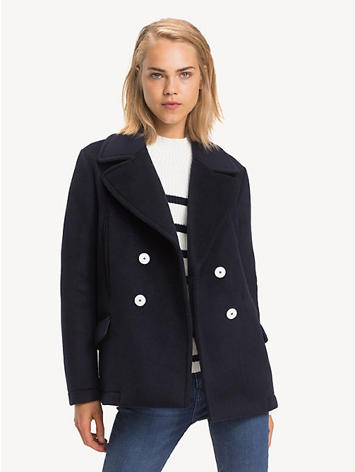 TOMMY HILFIGER Regular Fit Wool Blend Pea Coat - MIDNIGHT - TOMMY HILFIGER NEW IN - main image