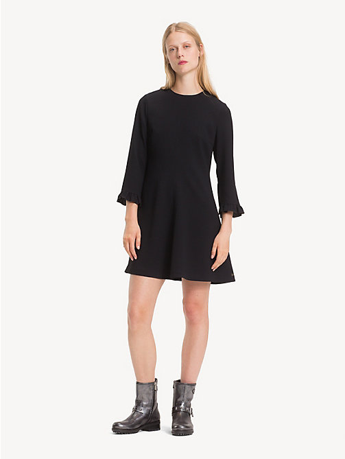 TOMMY HILFIGER Ruffle Detail Crepe Dress - BLACK BEAUTY - TOMMY HILFIGER NEW IN - main image