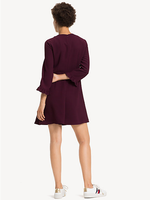 TOMMY HILFIGER Ruffle Detail Crepe Dress - PLUM - TOMMY HILFIGER NEW IN - detail image 1