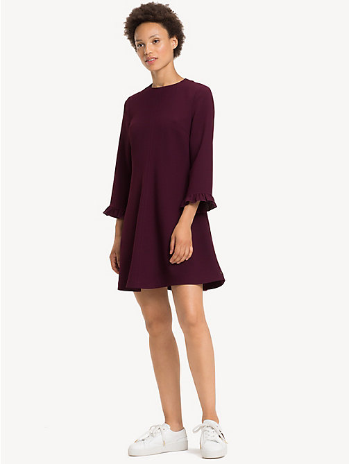 TOMMY HILFIGER Ruffle Detail Crepe Dress - PLUM - TOMMY HILFIGER NEW IN - main image