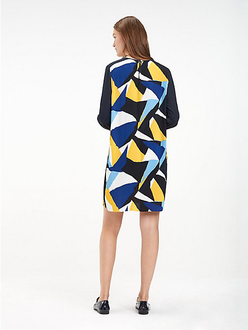 TOMMY HILFIGER Regular fit crêpe jurk - PAINTED COLOURBLOCK / BLACK BEAUTY - TOMMY HILFIGER NIEUW - detail image 1