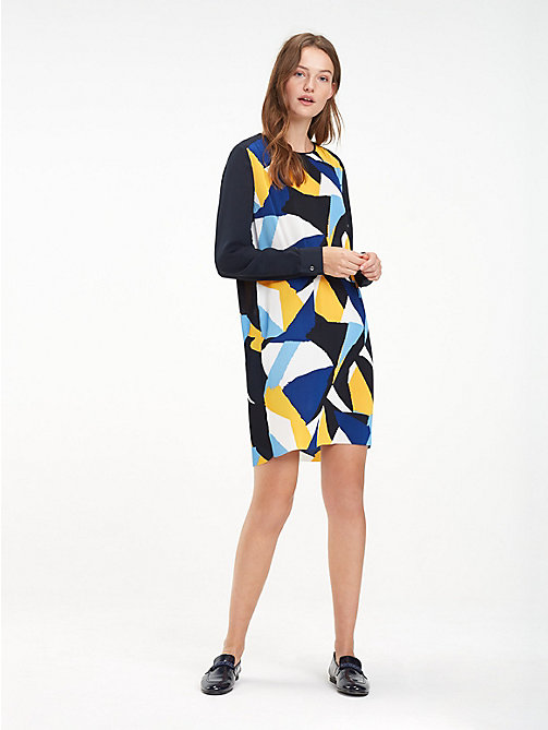 TOMMY HILFIGER Regular fit crêpe jurk - PAINTED COLOURBLOCK / BLACK BEAUTY - TOMMY HILFIGER NIEUW - main image