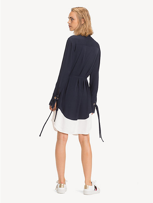 TOMMY HILFIGER Contrast Stitching Shirt Dress - MIDNIGHT - TOMMY HILFIGER Shirt Dresses - detail image 1
