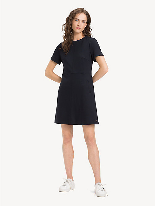 TOMMY HILFIGER Crew Neck Short Sleeved Dress - BLACK BEAUTY - TOMMY HILFIGER NEW IN - main image