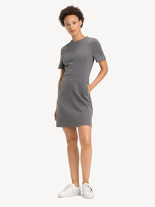 TOMMY HILFIGER Crew Neck Short Sleeved Dress - MEDIUM GREY HTR - TOMMY HILFIGER Dresses - main image