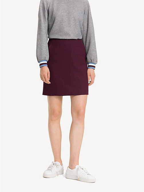 TOMMY HILFIGER A-Line Wool Blend Mini Skirt - PLUM - TOMMY HILFIGER NEW IN - detail image 1