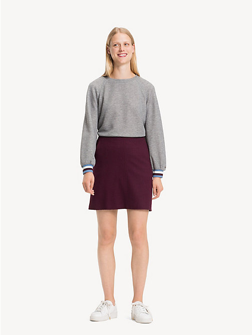 TOMMY HILFIGER A-Line Wool Blend Mini Skirt - PLUM - TOMMY HILFIGER NEW IN - main image