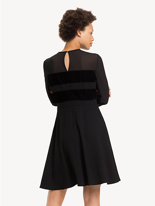 TOMMY HILFIGER Texture Stripe Skater Dress - BLACK BEAUTY - TOMMY HILFIGER Party Looks - detail image 1