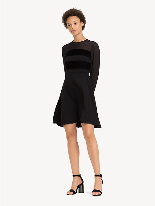TOMMY HILFIGER Texture Stripe Skater Dress - BLACK BEAUTY - TOMMY HILFIGER Party Looks - main image