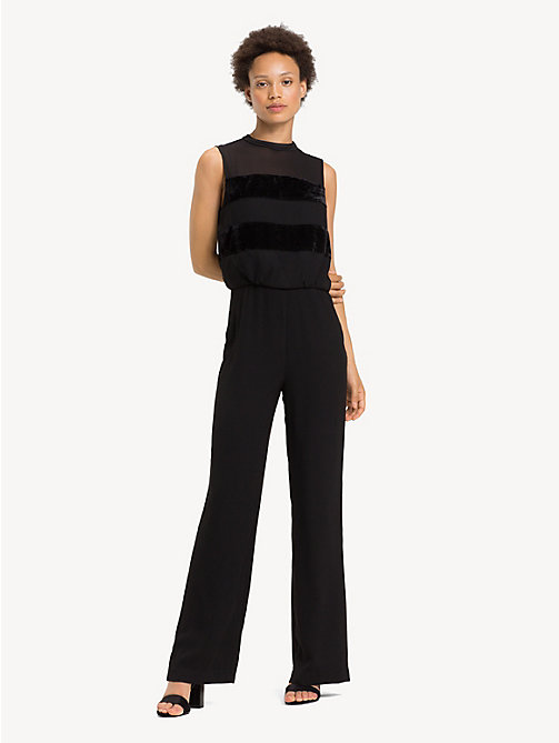 TOMMY HILFIGER Textured Stripe Jumpsuit - BLACK BEAUTY - TOMMY HILFIGER Jumpsuits - main image