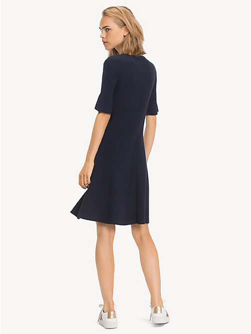 TOMMY HILFIGER Bio-Baumwoll-Minikleid mit Trompetenärmeln - MIDNIGHT - TOMMY HILFIGER Sustainable Evolution - main image 1
