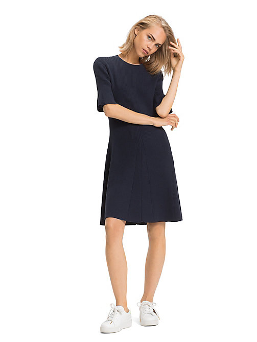 TOMMY HILFIGER Bio-Baumwoll-Minikleid mit Trompetenärmeln - MIDNIGHT - TOMMY HILFIGER Sustainable Evolution - main image