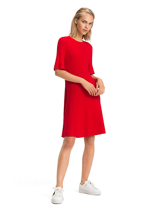 TOMMY HILFIGER Bio-Baumwoll-Minikleid mit Trompetenärmeln - TRUE RED - TOMMY HILFIGER Sustainable Evolution - main image