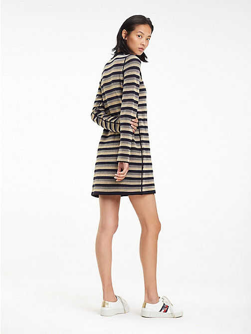 TOMMY HILFIGER Metallic High Neck Dress - BLACK BEAUTY - TOMMY HILFIGER Dresses - detail image 1