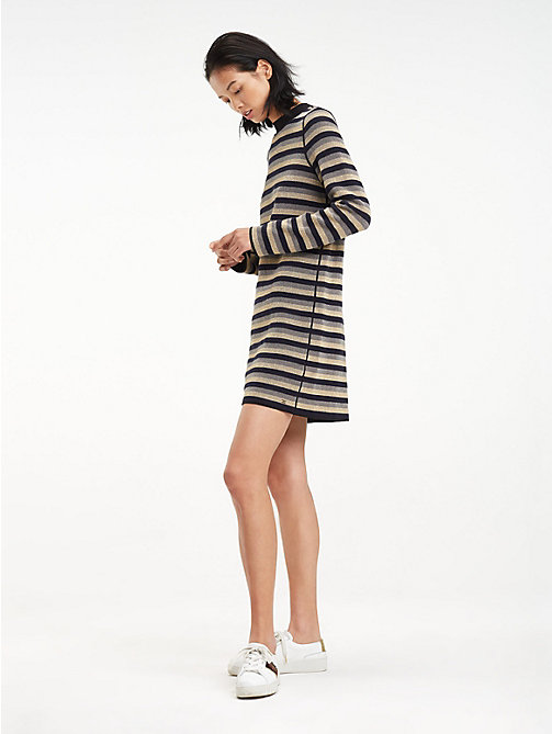 TOMMY HILFIGER Metallic High Neck Dress - BLACK BEAUTY - TOMMY HILFIGER Dresses - main image
