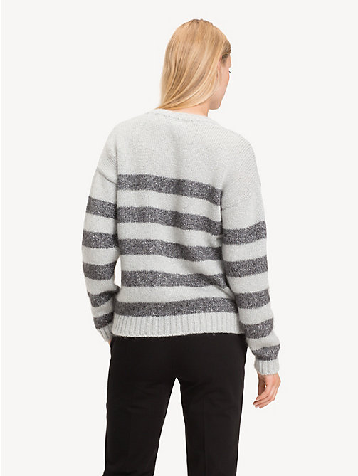 TOMMY HILFIGER Stripe Crew Neck Jumper - LIGHT GREY HTR / SILVER METALLIC - TOMMY HILFIGER Party Looks - detail image 1