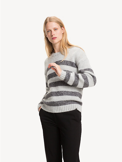 TOMMY HILFIGER Stripe Crew Neck Jumper - LIGHT GREY HTR / SILVER METALLIC - TOMMY HILFIGER Party Looks - main image