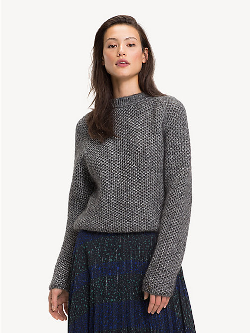 TOMMY HILFIGER Open Knit Funnel Neck Jumper - GREY SILVER - TOMMY HILFIGER Party Looks - main image