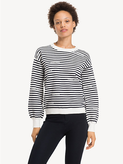 TOMMY HILFIGER Mock Neck Jumper - SNOW WHITE / SKY CAPTAIN - TOMMY HILFIGER NEW IN - main image