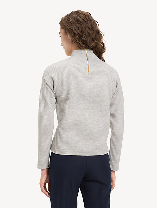 TOMMY HILFIGER Funnel Neck Textured Top - LIGHT GREY HTR - TOMMY HILFIGER Tops - detail image 1