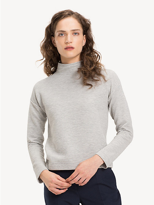 TOMMY HILFIGER Funnel Neck Textured Top - LIGHT GREY HTR - TOMMY HILFIGER NEW IN - main image