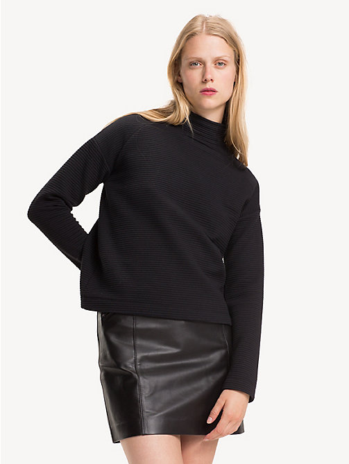 TOMMY HILFIGER Funnel Neck Textured Top - BLACK BEAUTY - TOMMY HILFIGER NEW IN - main image