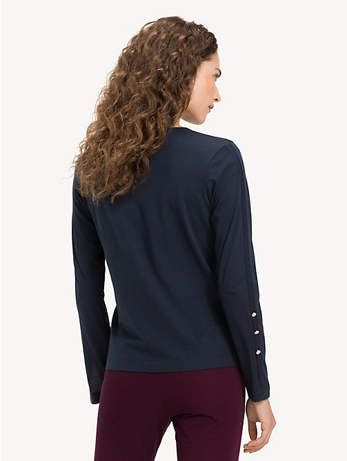 TOMMY HILFIGER Crew Neck Long Sleeve Top - MIDNIGHT - TOMMY HILFIGER NEW IN - detail image 1