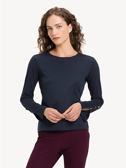 TOMMY HILFIGER Crew Neck Long Sleeve Top - MIDNIGHT - TOMMY HILFIGER NEW IN - main image